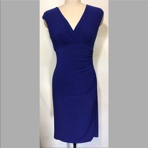 Lauren Ralph Lauren Blue V Neck Mini Dress
